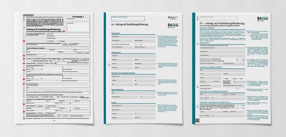 Prozessbild der Bafög-Anträge: links die alten Formulare, in der Mitte das Konzept vom Matthias Abels, rechts die finale Umsetzung des Bundesministeriums.