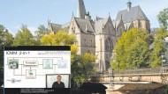 Lieber im Bildschirmwinkel als auf dem Katheder: Jürgen Handke im digitalen Element vor Marburger Universität