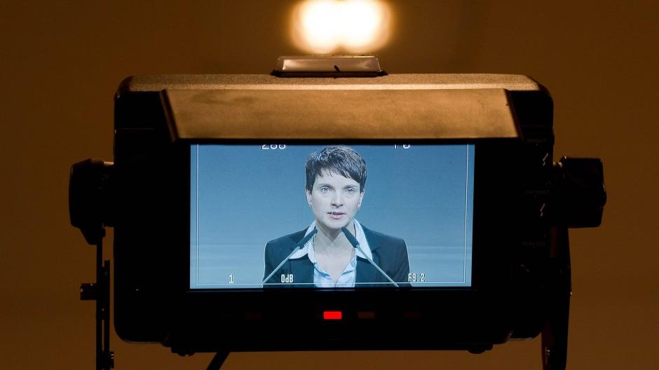 Die AfD-Chefin Frauke Petry ist beim Landesparteitagin Hannover auf einem TV-Monitor zu sehen.