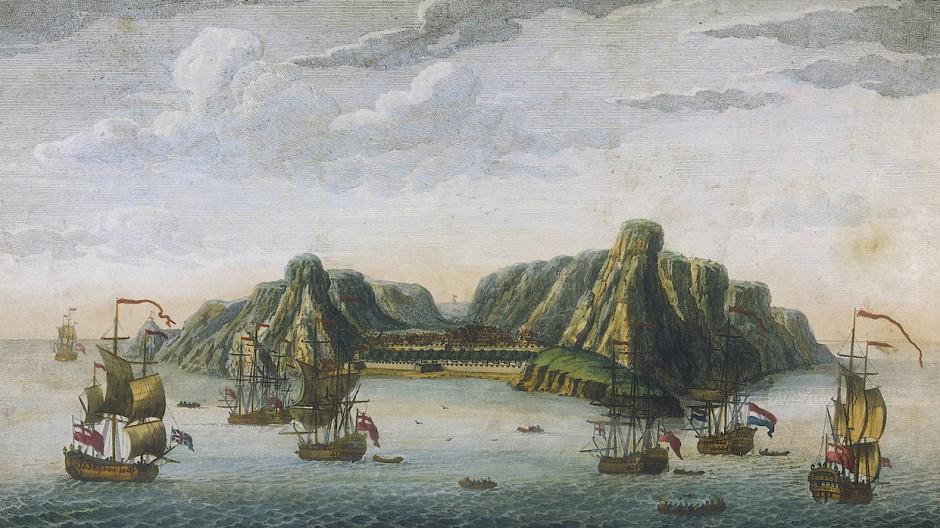Vorratsstation auf dem Seeweg nach Indien: Sankt Helena auf einem Stich von J. van Ryne aus dem Jahr 1750
