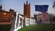 Sie dürfen ja wählen: Fahnenschwenker Ende März vor den Parlamentsgebäuden in Westminster.