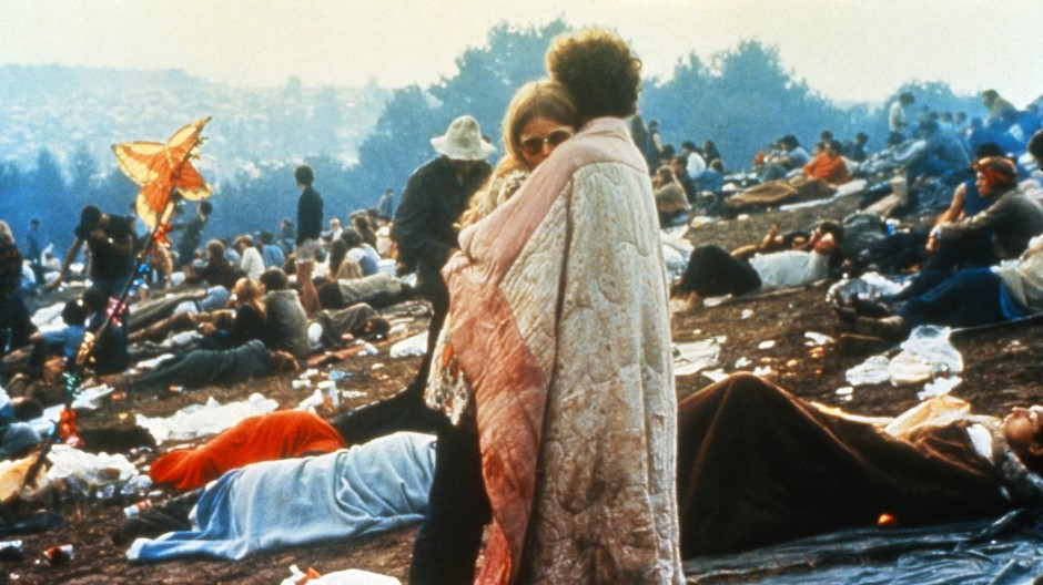 """Im Sommer 1969 - na, wo wohl? """"I'll camp out on the land to try and get my soul free""""."""
