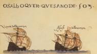 Afonso de Albuquerques Flotte auf dem Weg nach Ostindien: Zeitgenössische Buchmalerei (1565).