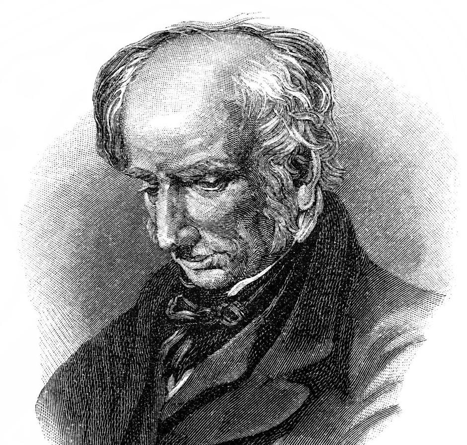 William Wordsworth (1770 bis 1850) auf einer historischen Zeichnung aus dem neunzehnten Jahrhundert