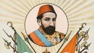 Während der dreiunddreißig Jahre seiner Herrschaft büßten die Osmanen 1.592.806 Quadratkilometer Land ein: Abdülhamid II. auf einer patriotischen Karte aus dem Sommer des Jahres 1908.