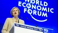 Theresa May spricht beim WEF in Davos.