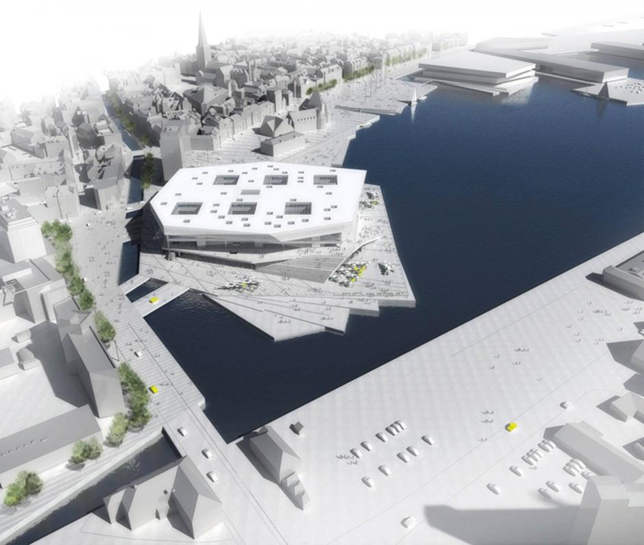 Die größte öffentliche Bibliothek Skandinaviens: Skizzierte Luftansicht des Dokk1