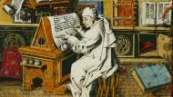 Der Markt hat so seine Eigenheiten, und die Kunst erst recht: Diese französische Buchmalerei aus dem 15. Jahrhundert zeigt einen schreibenden Mönch.