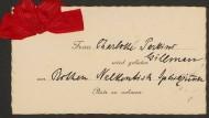 Tischkarte der amerikanischen Feministin Charlotte Perkins Gilman vom Internationalen Frauenkongress in Berlin 1904
