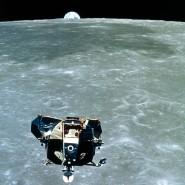 Zurück zur Erde: Die Landefähre von Apollo 11 auf dem Weg zur Kommandokapsel in der Mondumlaufbahn.