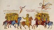 Konfliktbewältigung anno 823: der byzantinische Rebell Thomas verhandelt mit den Arabern und schlägt die Truppen des Kaisers Michael. Buchmalerei aus der Madrider Handschrift des Johannes Skylitzes