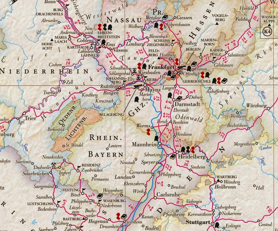 Achtzehn rote Damensilhouetten, fünf Kanonen für von Goethe erlebte Schlachten: Ausschnitt aus der Kalimedia-Karte