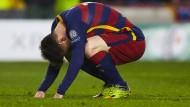 Was ist denn los mit ihm? Lionel Messi bei einem Fußballspiel Mitte März in Barcelona