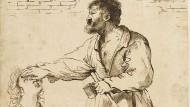 """""""Die rauhen Hände streiften gern das Fleisch, das weiche"""": Schlussvers des Gedichts """"Michelangelos Nase"""" aus Durs Grünbeins jüngster Sammlung """"Zündkerzen"""". – Die Zeichnung aus dem Umkreis Guercinos liegt im Louvre."""