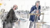 Dieses Bild des Gerichtszeichners zeigt Laurent Sourisseau von Charlie Hebdo bei seiner Aussage neben seinem Anwalt Richard Malka im Pariser Gericht.