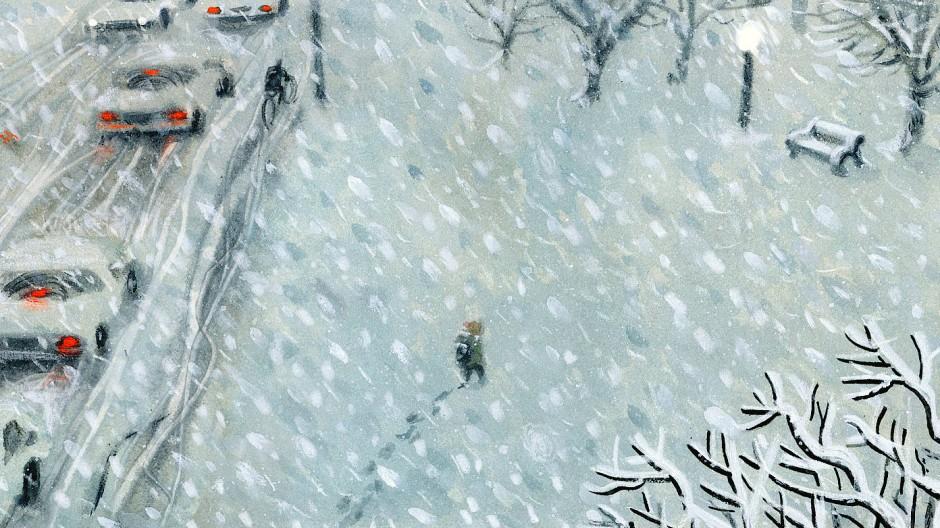 """Auf der Bank im Park ist ein guter Ort, um sich zusammenzurollen, allerdings nicht bei jedem Wetter: Illustration aus Sydney Smiths Bilderbuch """"Unsichtbar in der großen Stadt""""."""