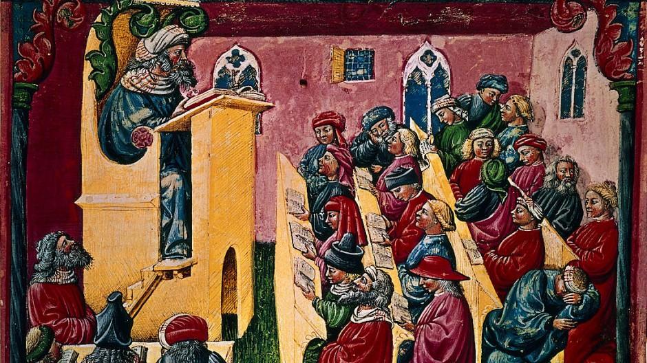 Europäischer Hochschulraum im 14. Jahrhundert: Henricus de Alemannia vor seinen Schülern in Bologna, gemalt von Laurentius de Voltolina