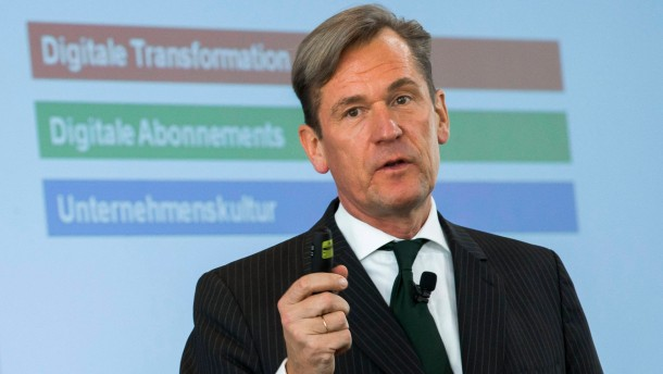 CEO of German publisher Axel Springer Doepfner talks during a news conference on annual results in Berlin
