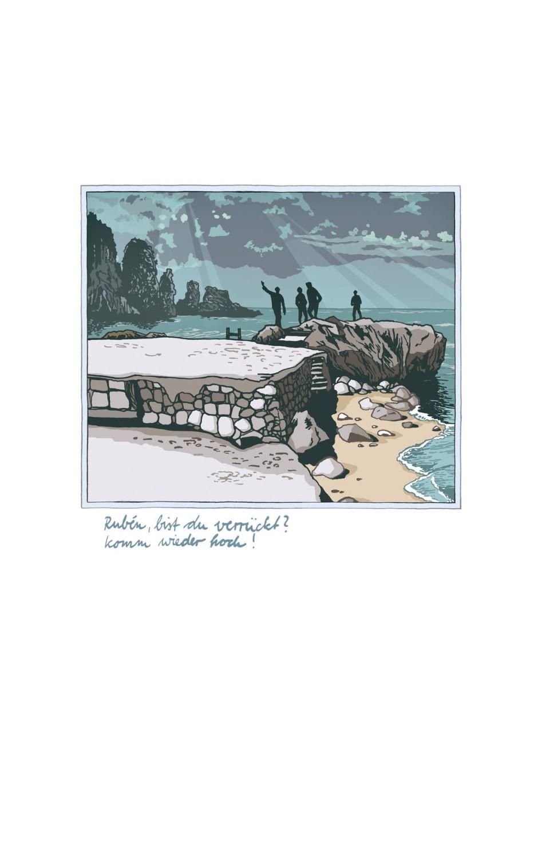 Lebensgefährliches Wettschwimmen in der Dünung: Illustration von Kat Menschik.