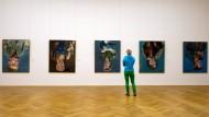 Protest: Im Dresdner Albertinum hängt die Portraitserie des Künstlers Georg Baselitz – noch.