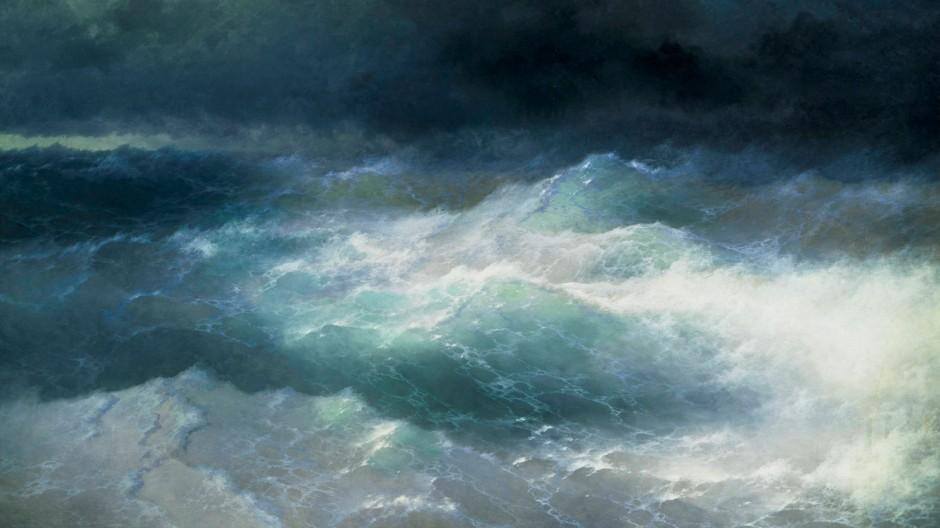 """Wie kommen wir durch die Katastrophe? Iwan Aiwasowski malte """"Zwischen den Wellen"""" 1898. Das Bild hängt im Aiwasowski-Museum von Feodossija"""