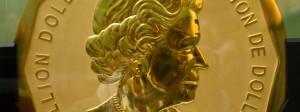 "Die hundert Kilogramm schwere Goldmünze ""Big Maple Leaf"" im Berliner Bode-Museum"