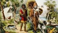 Die Missionierung muss warten: Robinson und Freitag in einer Illustration von 1875.
