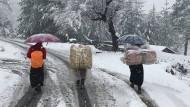 Winterwunderland: Kälteeinbruch in den Bergen von Haa, eine Woche vor Frühlingsbeginn.