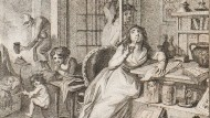"""Johann Heinrich Rambergs Buchillustration """"Die gelehrte Frau""""' aus dem Jahr 1803"""