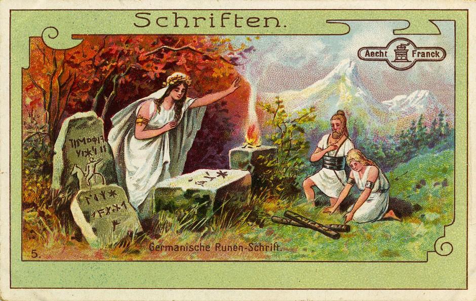 """Historisch fragwürdige Darstellung eines Runenorakels als Sammelbildchen der Kaffee-Firma """"Aecht Franck"""", um 1900"""