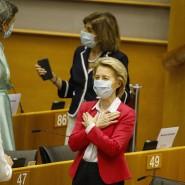 """Was kann und soll Europa in der heutigen Welt """"bedeuten""""? Kommissionspräsidentin Ursula von der Leyen im EU-Parlament."""