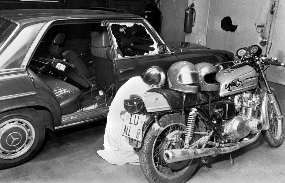 Das Motorrad, von dem aus der Mord begangen wurde