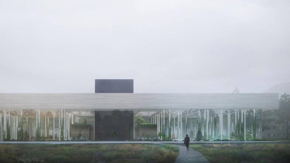 """Sieht aus wie eine Neue Nationalgalerie für Algorithmen: Entwurf des Data Centers """"The Spark"""" des norwegischen Architektenbüros Snøhetta."""