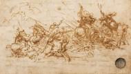 """Wogender Kampf: Studie Leonardos für das unvollendete gebliebene und später verlorengegangene Wandgemälde """"Die Schlacht von Anghiari"""" im Florentiner Palazzo Vecchio, zirka 1503/04."""