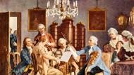 """Das """"Haydn-Quartett"""": Aquarelldruck der Firma Franz Hanfstaengl, München, nach dem Gemälde von Julius Schmid (1854 bis 1935)"""
