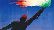Von ihm hätte sich Mussolini liebend gern Wunderwaffen erfinden lassen: Bei dem Plakatgestalter Giorgio Muggiani wird Leonardo 1939 zum Überitaliener und Fackelträger der Bewegung.