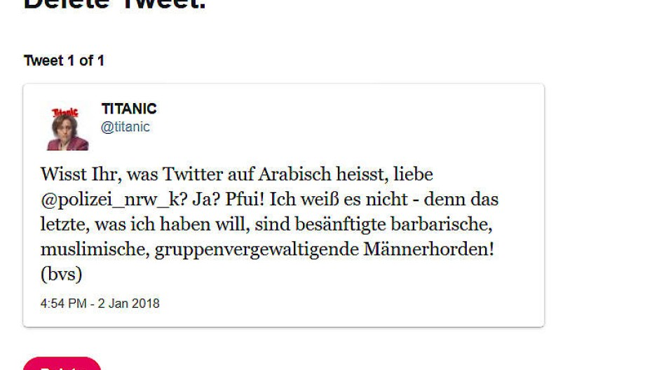 Der inkriminierte Storch-Gasttweet.