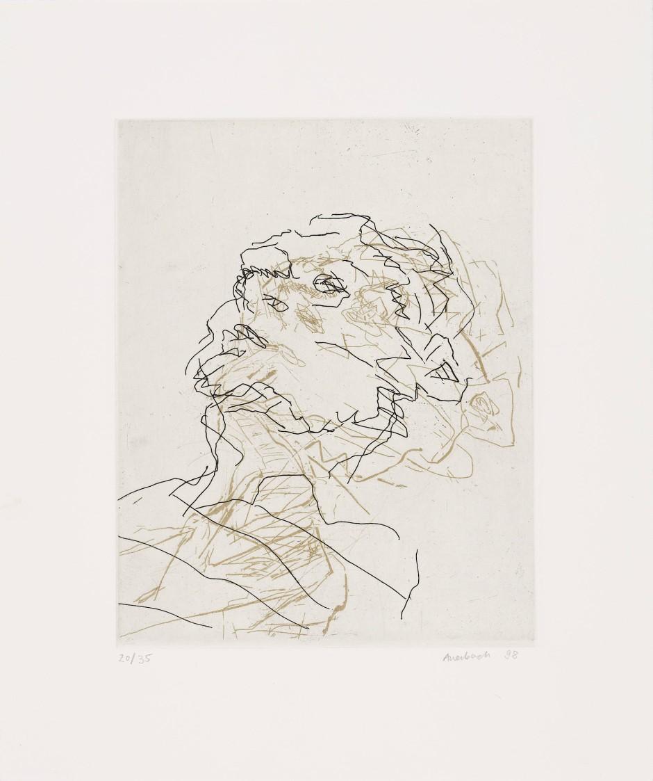 Bewegt: Auerbachs Radierung seiner Frau Julia in Schwarz über Gold, 1998