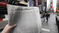 """Wo sind Romi, Jessica, Stanley, wo Angel, Rocco und Bob? Titelseite der """"New York Times"""" vom 24. Mai"""