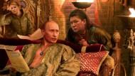 Andrej Budajews Fotomontage zeigt Putin zwischen Julija Timoschenko und Gasprom-Chef Alexej Miller als byzantisnischen Strategen.