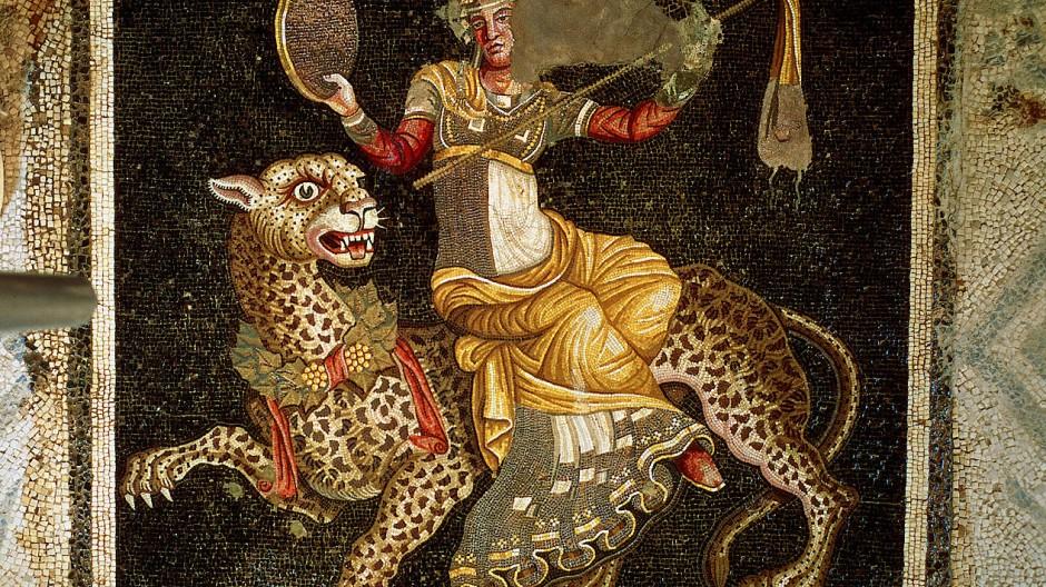 Dionysos, auf einem Leoparden reitend: Mosaik, entstanden um etwa 180 v. Chr., aus Delos