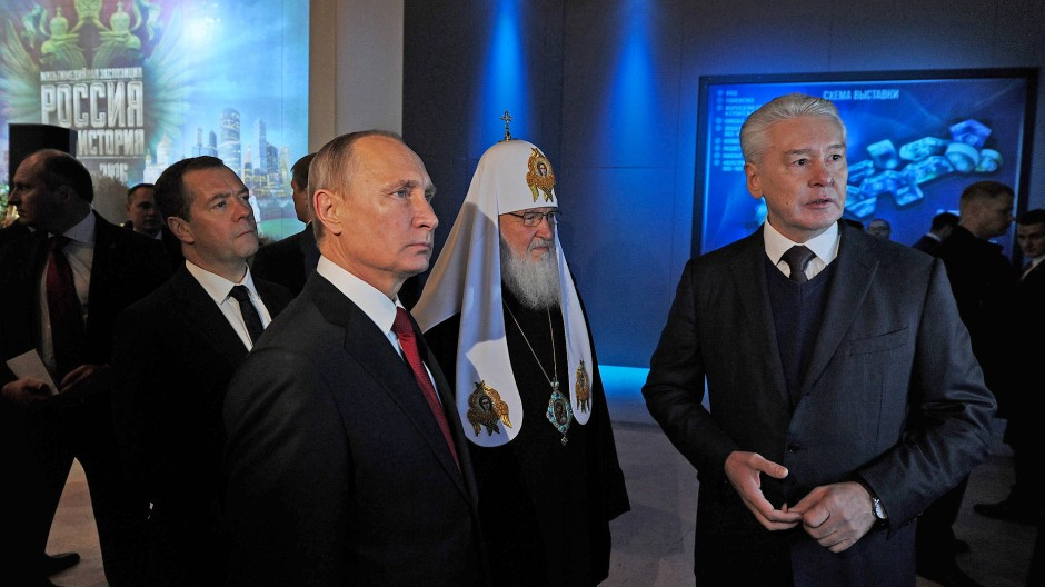 Präsident und Patriarch bei der Eröffnung der Ausstellung 2016