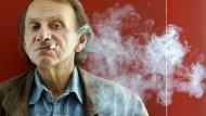 """Schriftsteller Michel Houellebecq bei der Präsentation von """"Unterwerfung"""" in Barcelona"""