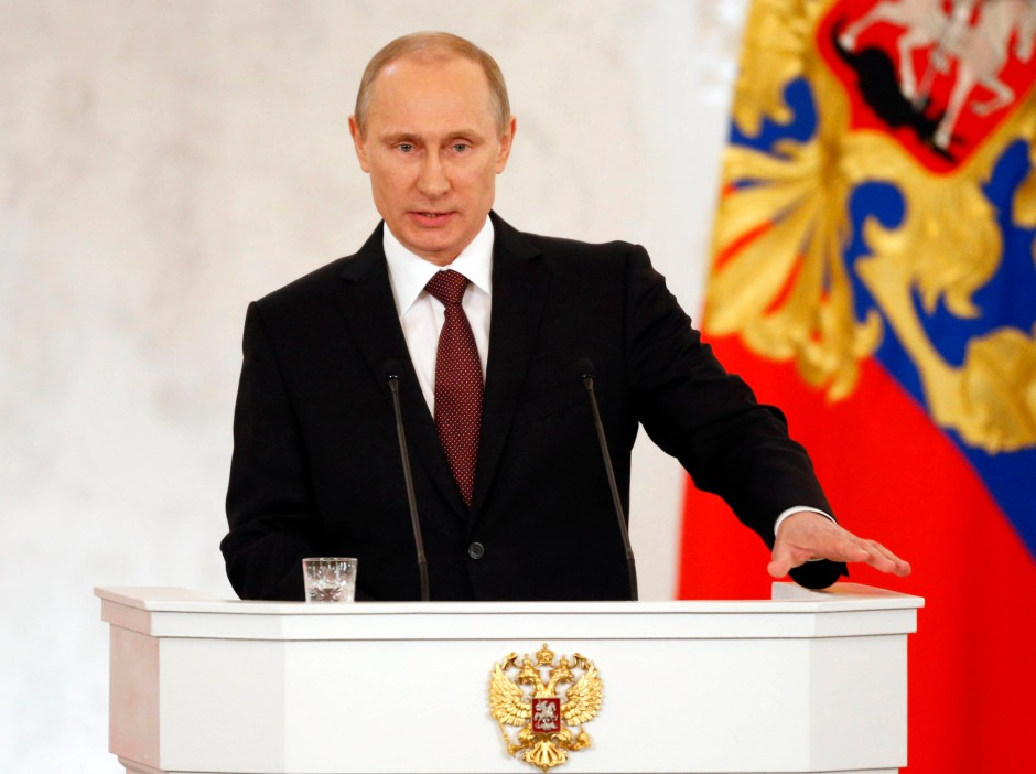 Wladimir Putin verteidigt die Aufnahme der Krim in die russische Förderation.