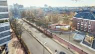 """Vier Buchstaben bilden das hebräische Wort für """"Im Gedenken an"""": Libeskinds Entwurf des geplanten Holocaust-Monuments in Amsterdam."""