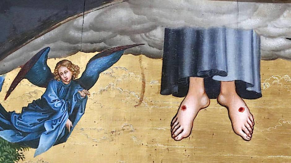 Nur die Füße Jesu schauen noch aus der Wolke heraus: So stellte sich Martin Schongauer im späten 15. Jahrhundert die Himmelfahrt Christi vor.