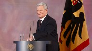 Ein letztes Mal als Bundespräsident ans Rednerpult: Joachim Gauck am Mittwochmorgen im Schloss Bellevue.