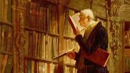 """Für ihn war vertiefte Lektüre kein Thema: Carl Spitzwegs """"Bücherwurm"""", entstanden um 1850."""