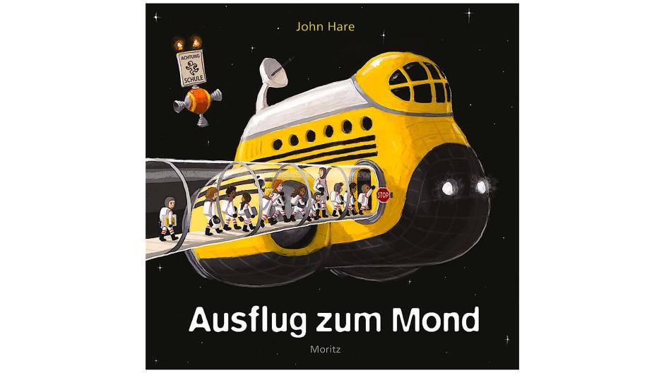 """John Hare: """"Ausflug zum Mond"""". Moritz Verlag, Frankfurt am Main 2018. 48 S., geb., 14,– Euro. Ab 4 J."""
