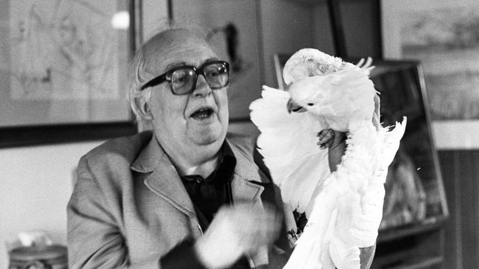 Friedrich Dürrenmatt in seinem Arbeitszimmer mit seinem Kakadu Lulu, 1980.